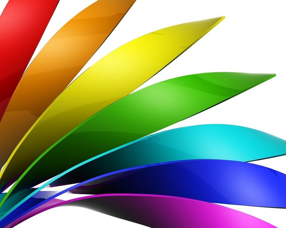 Kolorowy znak graficzny na białym tle jako identyfikacja wizualna